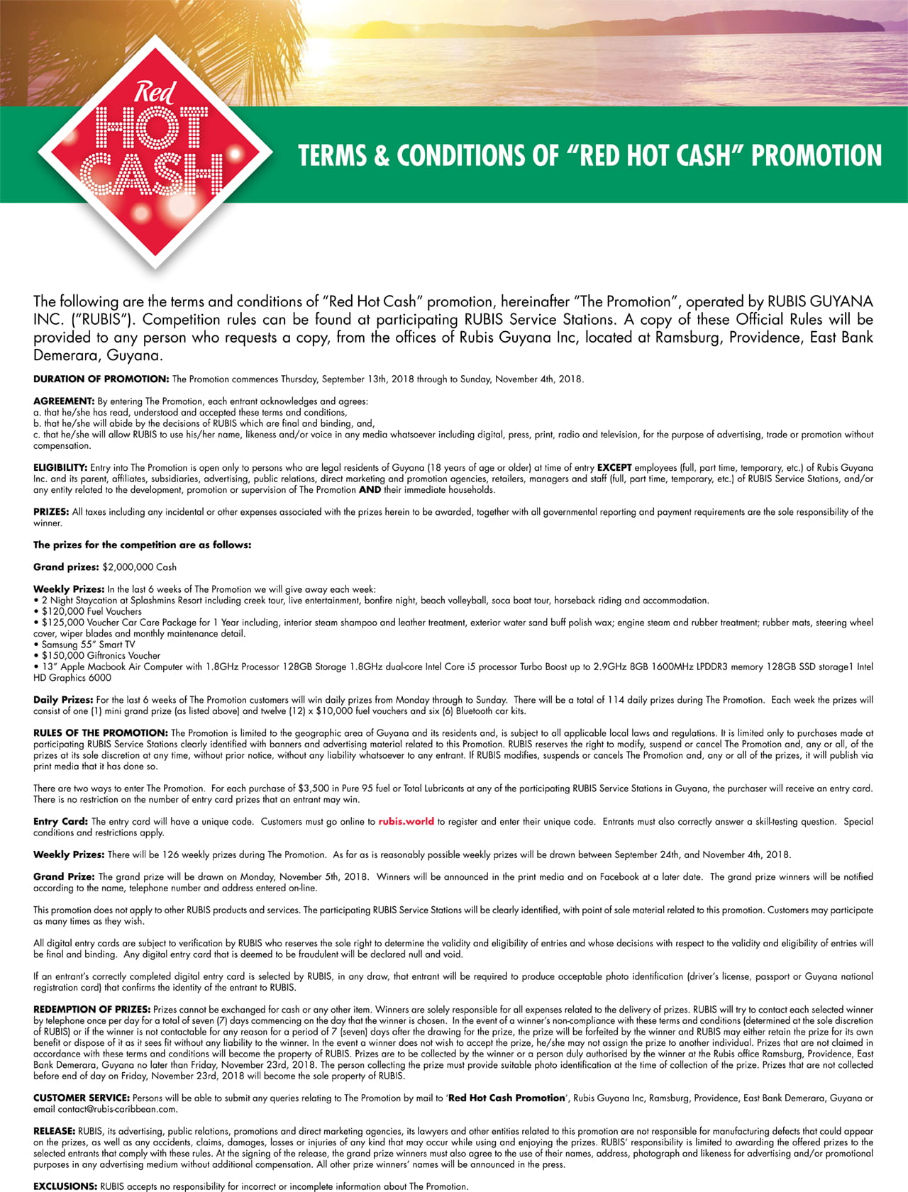 Red Hot Cash Guyana Terms & Conditions