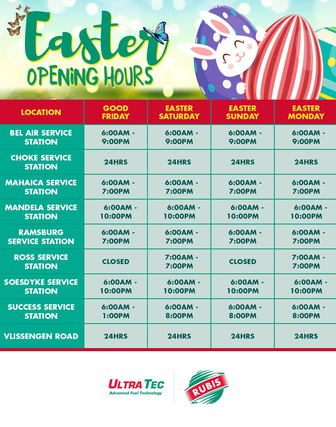 Rubis Easter hours