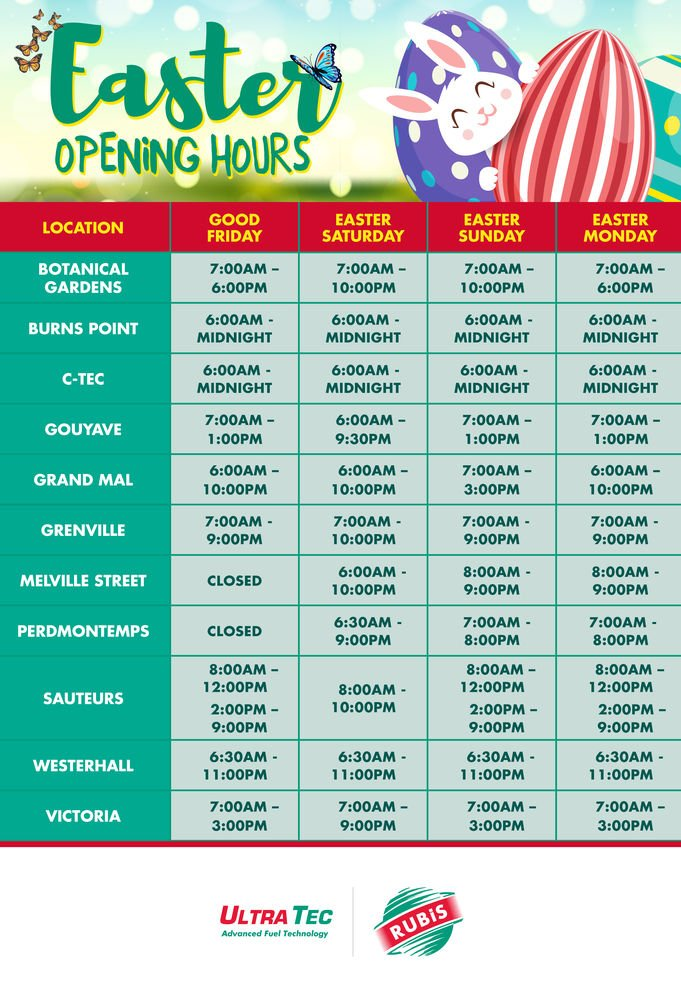 Grenada RUBIS Easter Opening Hours