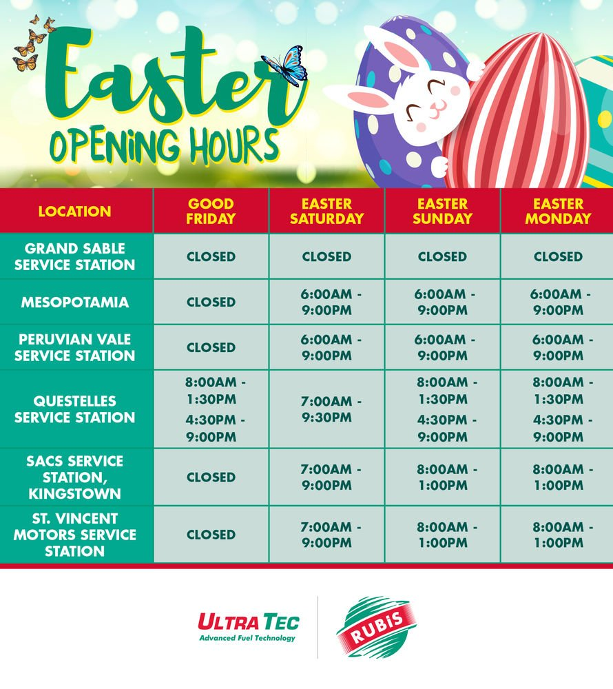 RUBIS Easter Hours St. Vincent